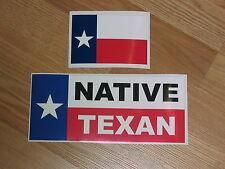 NATIVE TEXAN Car Window Decal Bumper Sticker + FREE TEXAS Flag