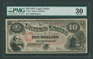 FR99 $10 1878 L.T. PMG 30 CHOICE VF TINY PINHOLE VERY SCARCE 95 RECORDED WLM9582