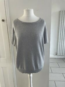Mint Velvet Silver Knitted Batwing Top Size 16-18 Occasion