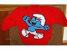 SMURF NEW HAND KNITTED SIZE 3