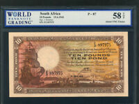 South Africa:P-87,10 Pounds ,1943 * Sailing Ship * WBG AU 58 TOP *