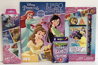 4 Disney Princess Jumbo Coloring Activity Book Pencil Set Glitter Crayon Art Kit