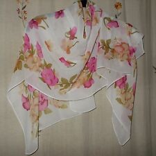 Floral Design in Olive & Mauve & Tan on Ivory Background, Oblong Scarf