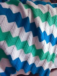Vintage  bright Crocheted Afghan Throw 3.5' By 5' Green Blue White