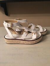 Michael Kors Cunningham sandal white leather gold size 9.5