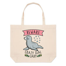 Beware Crazy Seal Lady Large Beach Tote Bag - Funny Animal Sea Cute Shoulder