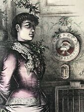 1882 Thomas Nast Harper'S Weekly Hand-Colored Christmas Flirtation Engraving