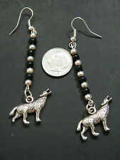 1 Pair WOLF Earrings Black & Silver Beads Howling Wolves Silver Plate Wires NEW!