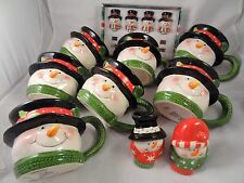 Burton Snowy Joey 2008 Snowman Cups (7), Spreading Knives (4), Salt & Pepper Set