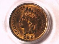 1901 Indian Head Cent Penny PCGS MS 63 RB 90023808