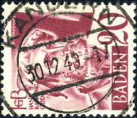 """ALLEMAGNE 1948 Französische Besetzung BADEN - 1949 """"KANDERN"""" date stamp on Mi.34"""