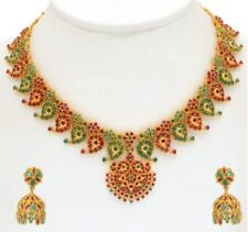 TRADITIONAL INDIAN PAN SHAPE NATURAL RUBY EMERALD NECKLACE EARRINGS IN SILVER