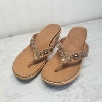Skechers Beverlee Bizzy Babe Tan Rhinestone Wedge Platform Sandal 31724 Women 6