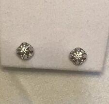 14K White Gold Diamond Stud Earrings/ New