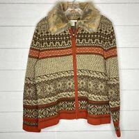 Cambridge Dry Goods Faux Fur Trim Women Zip Cardigan Brown Size Large 100%Wool