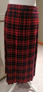 Vintage Pure Wool Skirt First Avenue Red Blue Check Pleated Size UK 16 Lined