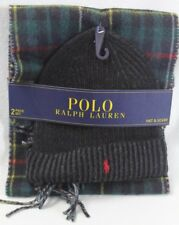 Polo Ralph Lauren Green Plaid Wool Scarf Black Beanie 2 Piece Set NWT
