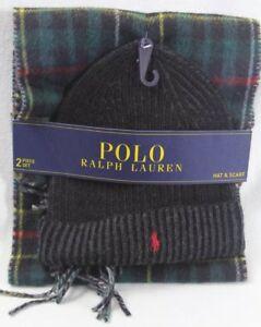 Polo Ralph Lauren Green Plaid Wool Scarf Black Beanie 2 Piece Set NWT