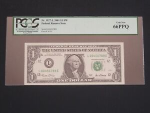2001 - $1 FEDERAL RESERVE (L) -LADDER S/N -RARE -  PCGS GEM NEW  NEW 66 PPQ