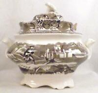 Brown Transferware Sugar Bowl Winter Base Spring Lid Flower Finial Antique As Is