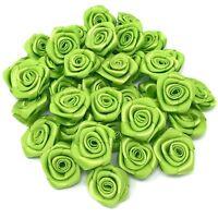 Green Ribbon Roses Craft Scrapbooking Shabby Chic 25mm Craft Flower