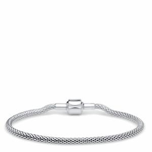 BERING Armband für Charm Beads 21 cm lang Mesh Armkette Strickoptik Farbe Silber
