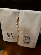 Htf New Rae Dunn Home Sweet Home Bless This House Kitchen Hand Towels Set of 2