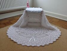"New White Hand Crochet Baby Shawl 38"" Circular 2 Rows Ribbon Christening Blanket"