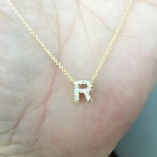 100% Roberto Coin 18k yellow gold necklace diamond R letter initial