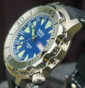 Automatic Sea Monster Watch, Norsk, Norway, Diver, Seiko NH36a movement. Blue