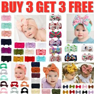 Handmade Baby Girls  Bow Headband Infant Toddler Turban Knot Hair Band Head Wrap