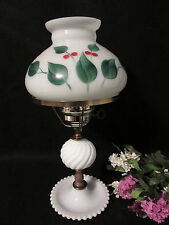"VINTAGE WHITE MILK GLASS HANDPAINTED GWTW HURRICANE SHADE TABLE LAMP 16.5"" TALL"