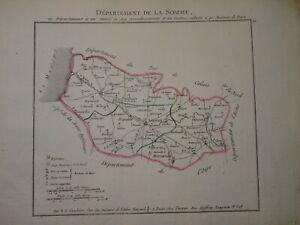 BELLE CARTE SOMME PICARDIE AMIENS ABBEVILLE PERONNE HAM NAPOLEON EMPIRE 1802