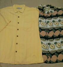 2 Tommy Bahama Men's Button down short sleeve silk shirts, size Large, vintage
