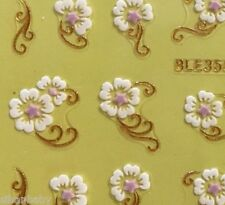 Nail Art 3D Sticker Golden Lace White Cotton Flower Purple Star Pistil
