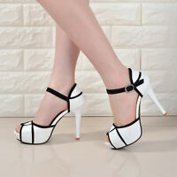 Girl Peep Toe Ankle Strap Stiletto Shoes High Heel Platform Buckle Sandals Women