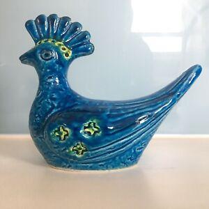 Bitossi Rimini Blue aldo londi figure PEACOCK Bird italian pottery Blu