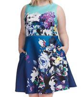 Julia Jordan Mixed Floral Fit And Flare Dress In Multi Blue Scuba Knit Size 22W