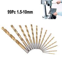 99Pc Twist Drill Bit Set HSS High Steel Titanium Coated Drilling Tool 1.5mm-10mm