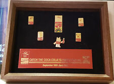 Hard to Fnd 92 Barcelona'92 Olympics Cobi mascot Pins Coca Cola Hanging Frame