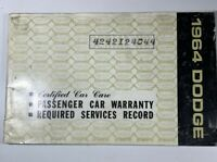 Dodge 1964 Required Services Record Overmyer Ball Motor Co Bellevue Ohio