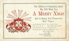 Merry Xmas, The Officers Of he Catawissa PA Aerie, Fraternal Order of Eagles