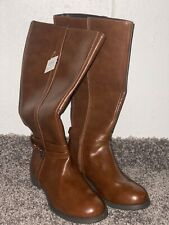 Hunters Bay Women Brown Boots High Top Leather Size 6.5 W New