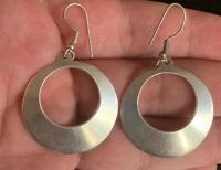 """Vintage Sterling Silver 925 Hoop Earrings 2""""x1.25"""" 11.8g"""