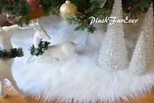 "58"" Mongolian Sheepskin Christmas Faux Fur Tree Skirt White Fur"