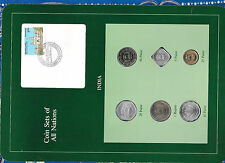 Coin Sets of All Nations India 1974-1986 UNC 5, 25 Paise, 1 Rupee 1986 5.12.86