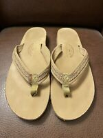 Rainbow Womens Flip Flop Double Layer Sandals Leather Tan Brown Worn 1 Time 10