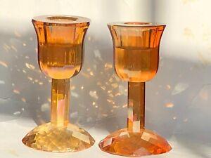 Set of 2 Gold Iridescent Crystal Candle Sticks Diamond Modern Simon Designs