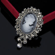 Retro Cameo Beauty Head Crystal Thanksgiving Gift Women Brooch Pin To Mom Hot