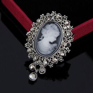 Retro Cameo Beauty Head Crystal Thanksgiving Gift Women Brooch Pin To Mom Hot